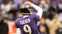 Nov 17, 2019; Baltimore, MD, USA; Baltimore Ravens kicker Justin Tucker (9) warms up before the game against the Houston Texans at M&T Bank Stadium. Mandatory Credit: Tommy Gilligan-USA TODAY Sports